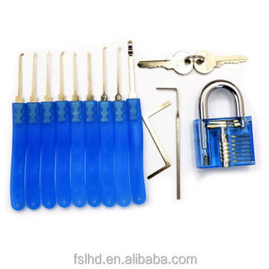 Blue car door opening kit with 9pcs locksmith supplies unlocking lockpick Set Key Extractor