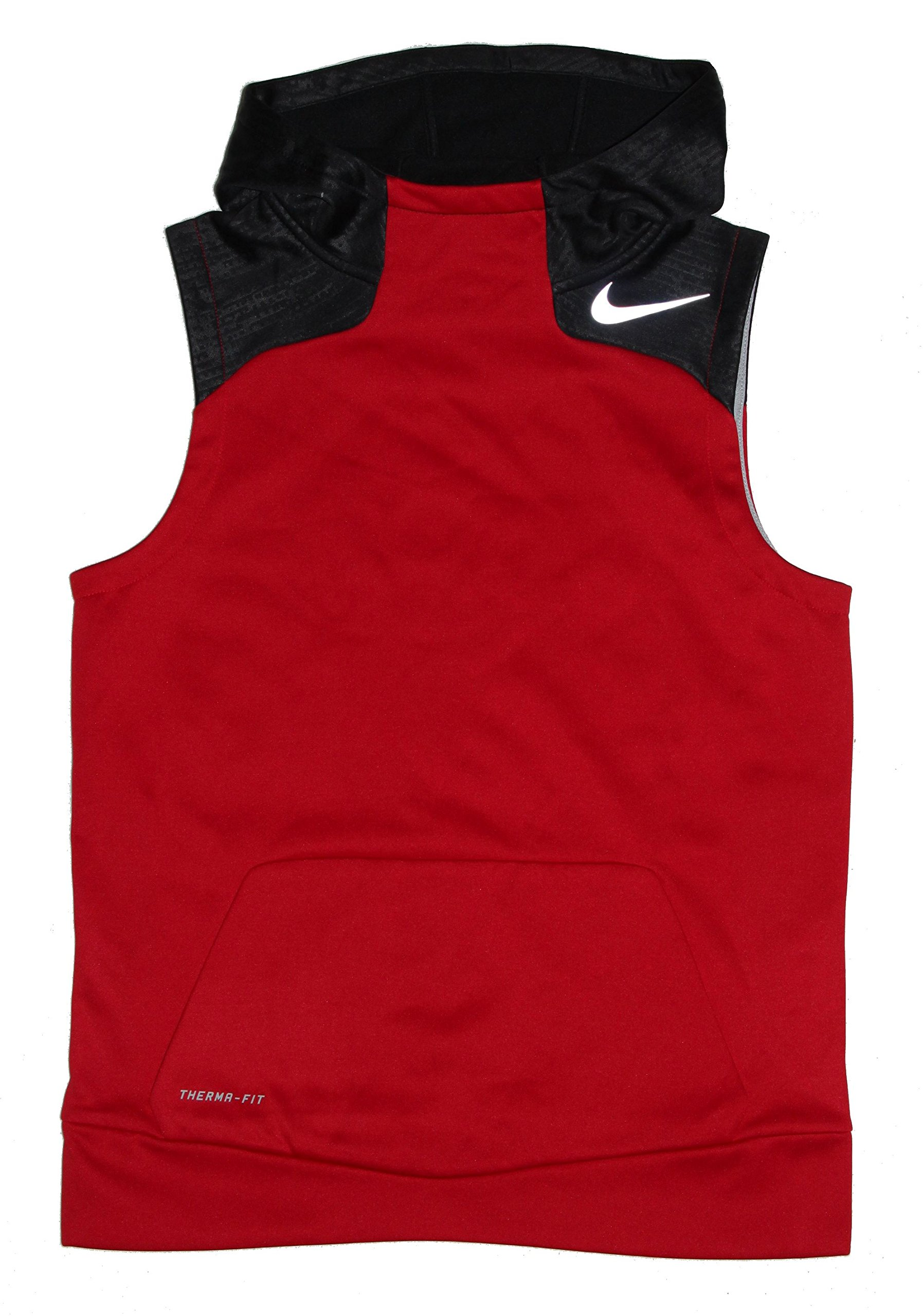 ee19367c4abf Nike Boy s Therma-Fit Flash Sleeveless Reflective Hoodie Red-Black Sz Large