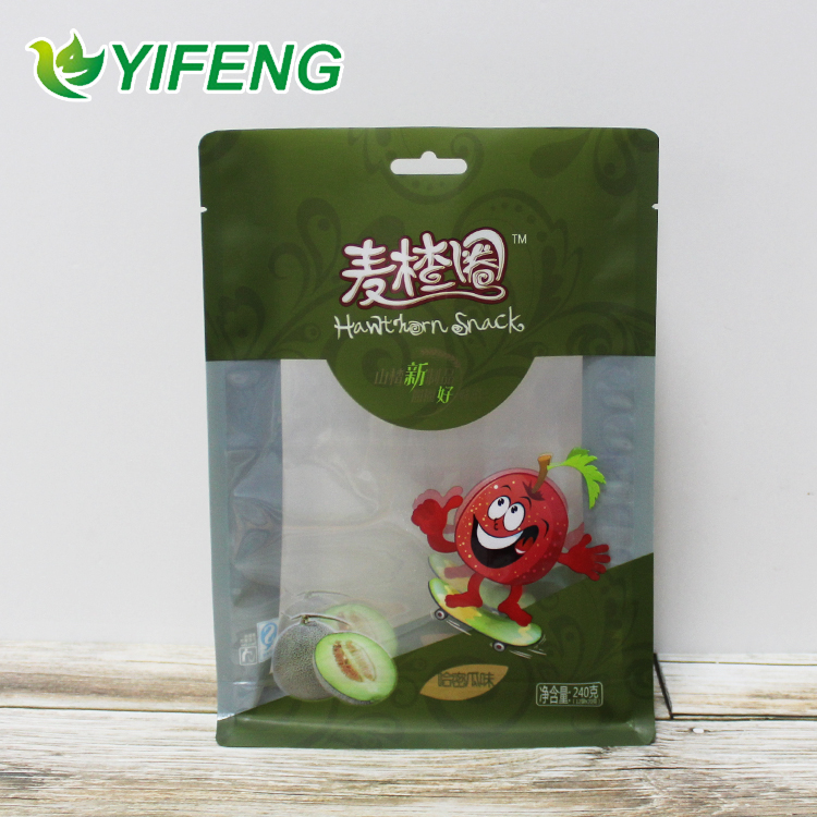 Pouch/square For Packaging Reusable Flat Bottom Treat Food Storage Pouch Bag With Window And Logo Printing