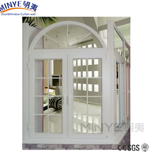 French style top quality aluminum casement windows arch window with grills
