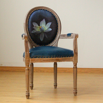 A2 Solid Wood Hand Carved Dining Room Chair With Armrest And Cushion Back
