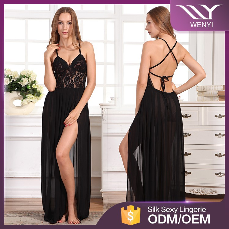 adfa1ca89 عالية الجودة أحدث الأزياء مريح الأسود العميق الخامس الرقبة الصورة النساء  تصميم جديد غريس نايتي