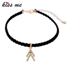 Women Gothic Choker Necklace Crystal Glitter Shaped Pendant Black Wide Velet Choker Necklace