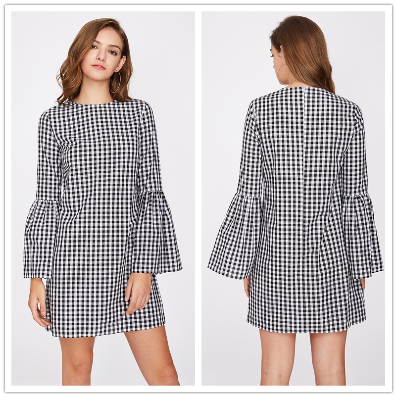 Dress Manufacturer Black And White Squares Exaggerate Bell Sleeve Gingham Women Dresses