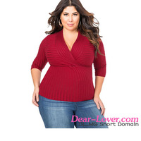 Red Deep V Fitted Rubbed Knit Plus Size Top Wholesale Fitness Clothing