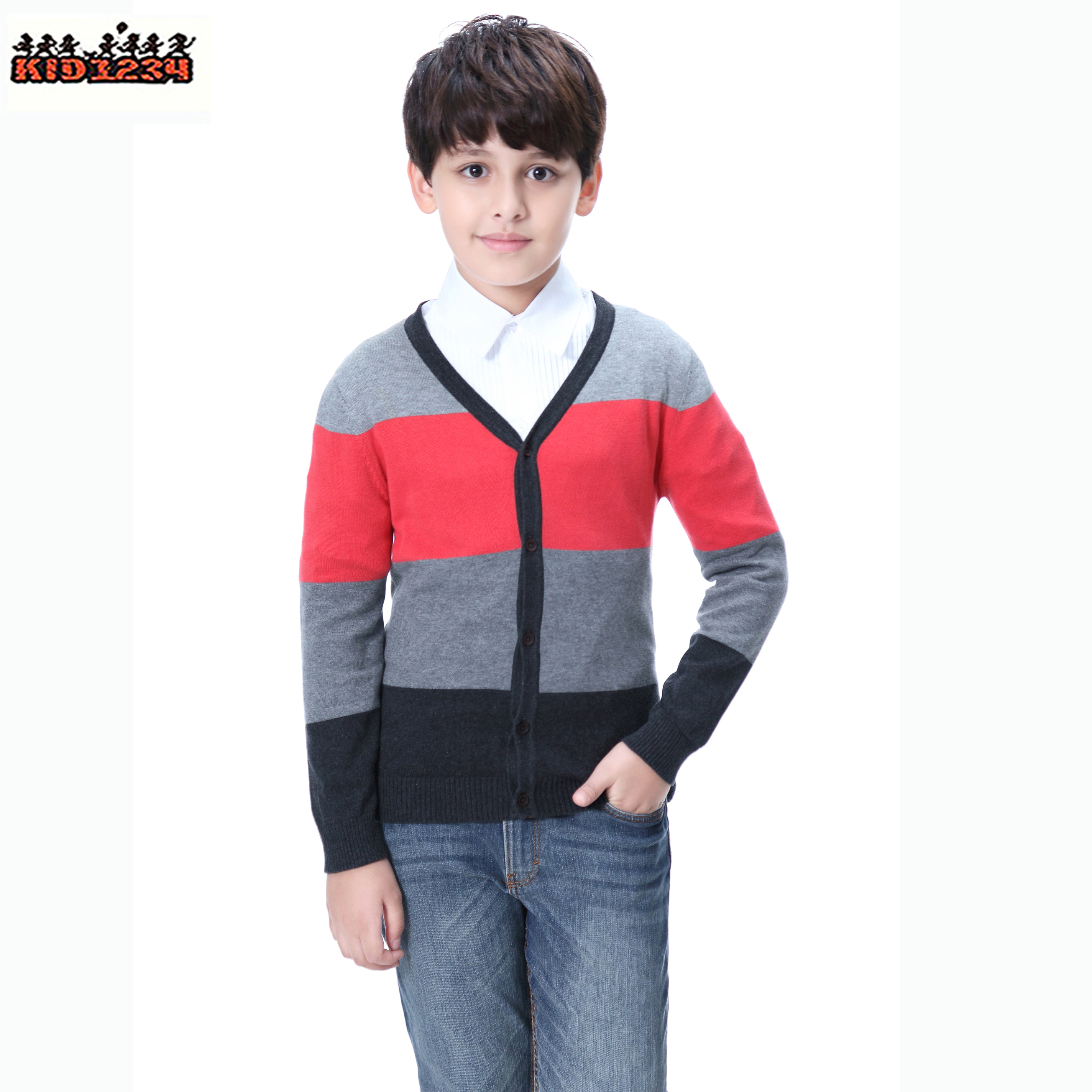 Anti-Pilling Eco-friengly Jungen Kids Cardigan Sweater Kinder gestrickter V-Ausschnitt aus Kaschmirmantel für den Winter im Frühling 4-14 Jahre