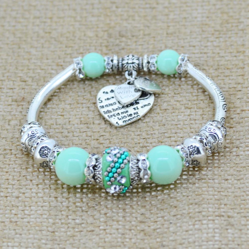 Fashion Silver Plated Jewelry Love Heart Charm Bracelets Bangles Glass Beads Strand Bracelets for Women 2016