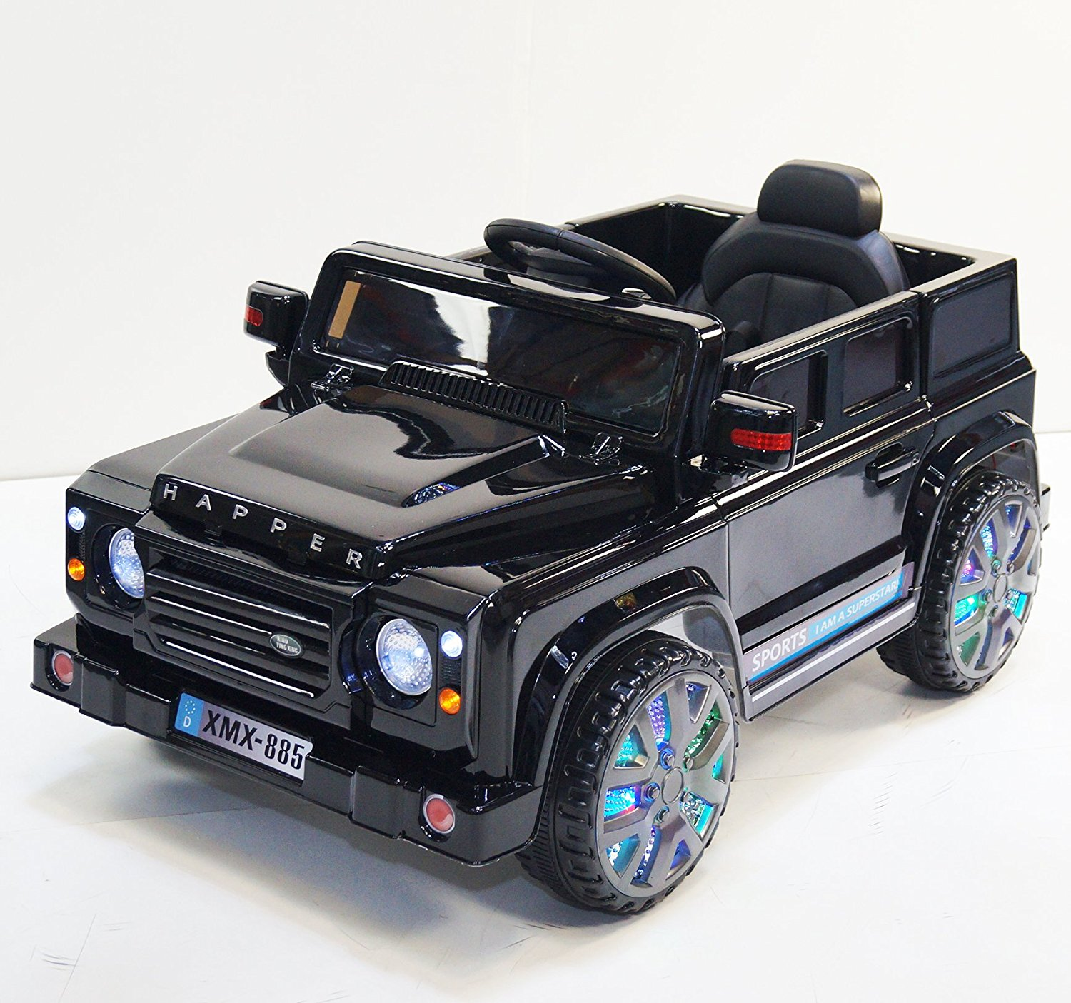 Ride on car LAND ROVER style. Battery operated. With remote control. R/C. For kids, boys and girls, from 2 to 5 years. Car on electric battery 12V total. Two Electric motor. 3 speed. MP3.