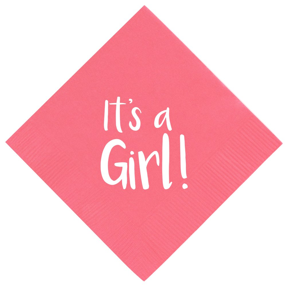 """Gender Reveal Party Supplies It's a Girl Pink Gender Reveal Party Napkins Gender Reveal Party Decorations 50 Pack 5x5"""" Party Napkins Cocktail Napkins Pink"""