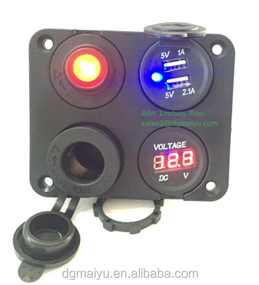 Wired 3.1 Amp USB Charger Voltmeter 12V Socket Switch Panel Marine Outlet