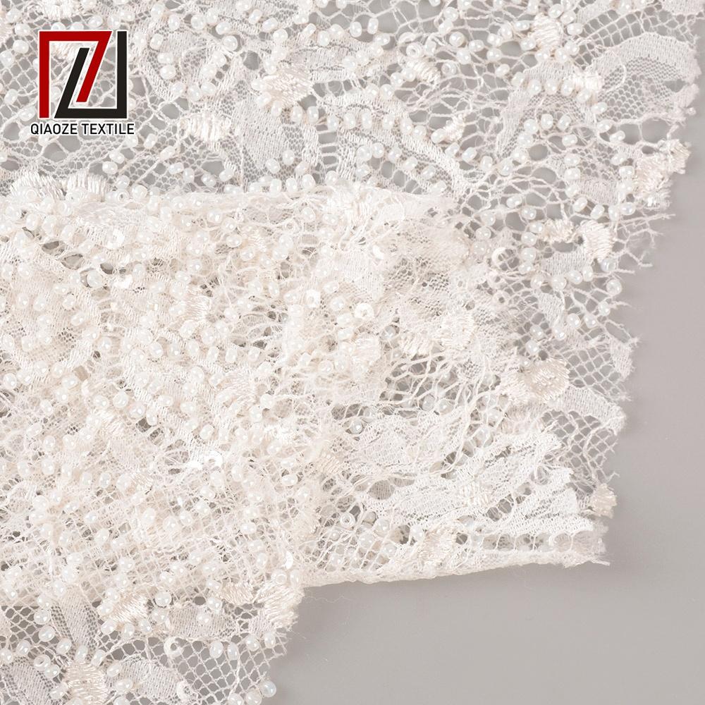 Mewah Berkualitas Bahasa Perancis Putih Pernikahan Gaun Bordir Berat Beads Bridal Renda Kain