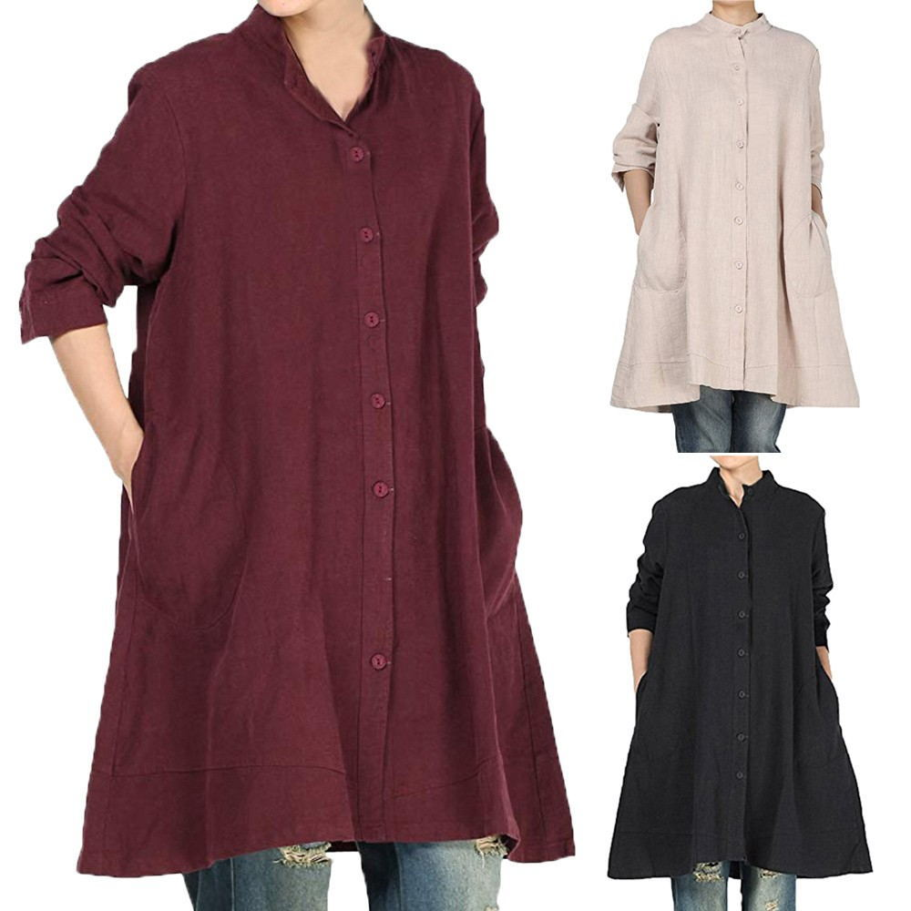 Alibaba.com / Women's Cotton Linen Dresses Full Front Buttons Jacket Outfit With Pockets Casual Shirt Dress YY10306