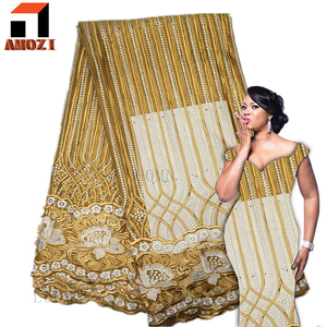 High Quality Nigerian Embroidery Cotton lace Fabric Wedding Dress African Swiss Voile Lace A044