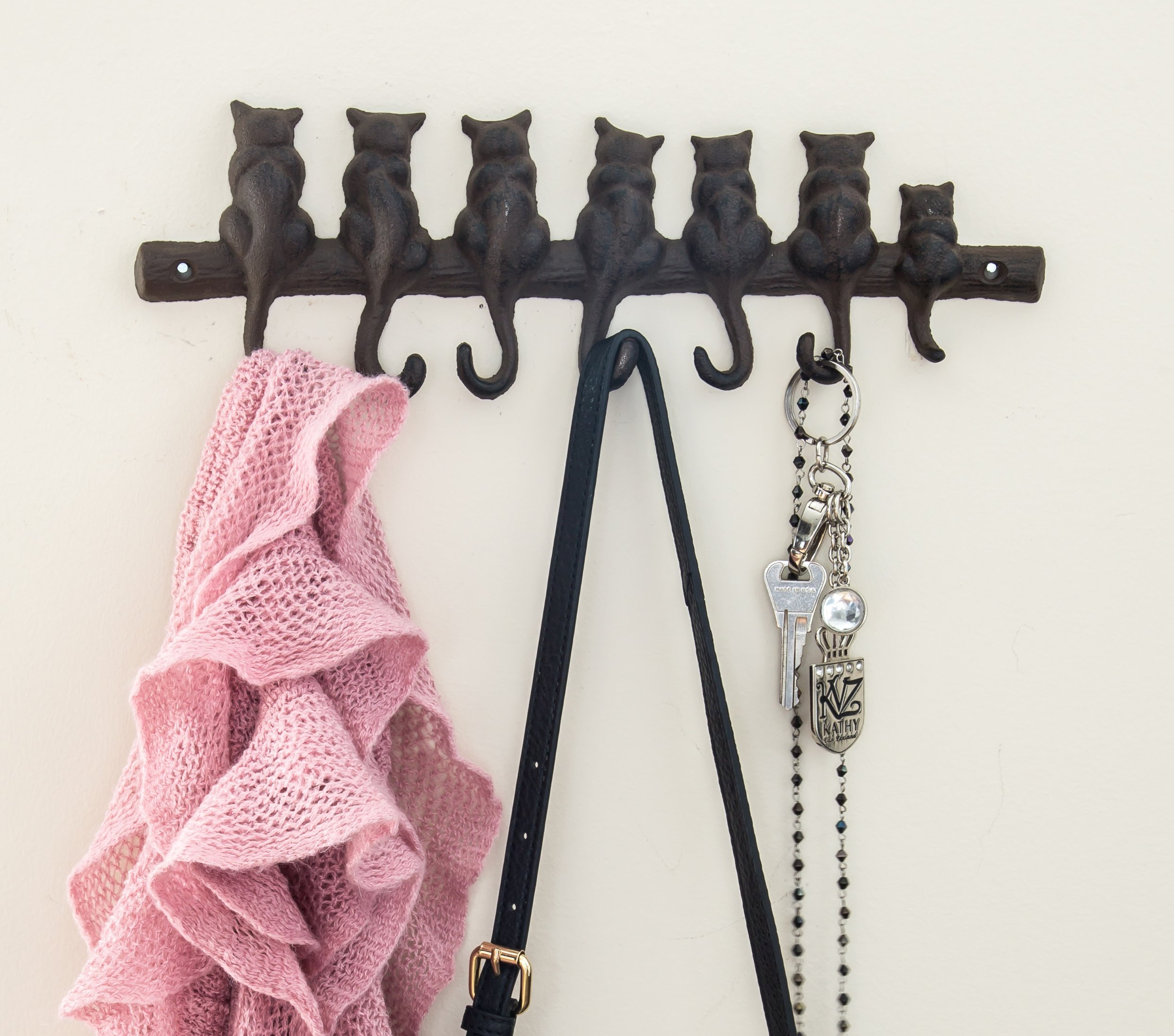 """Comfify 7 Cats Cast Iron Wall Hanger - Decorative Cast Iron Wall Hook Rack - Vintage Design Hanger with 4 Hooks - Wall Mounted 