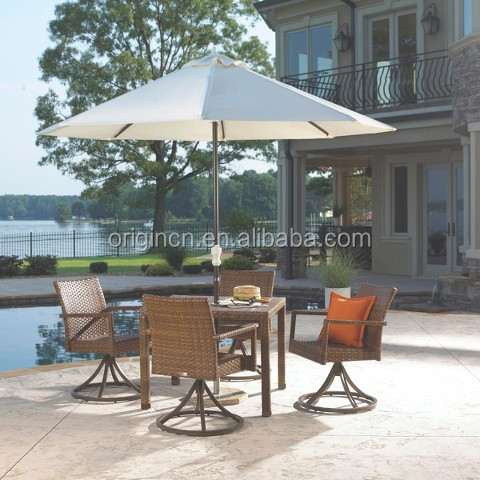 4 wicker swivel rotating chairs and outdoor furniture made of rattan with tempered glass dining table