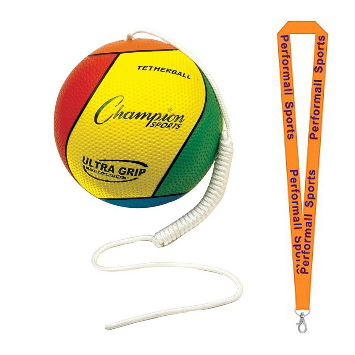 Champion Sports Bundle: Ultra Grip Tether Ball Multi-Colored with 1 Performall Lanyard VTBS-1P