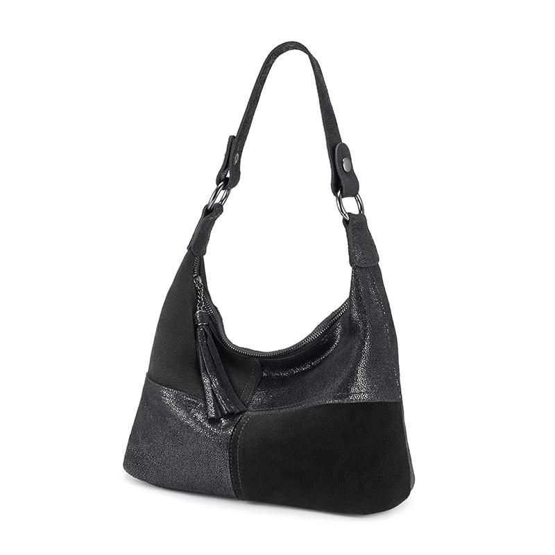 REALER Женская сумка Хобо, сумка из натуральной кожи для женщин, Лоскутная сумка через плечо с кисточкой, роскошная дизайнерская сумочка(Китай)