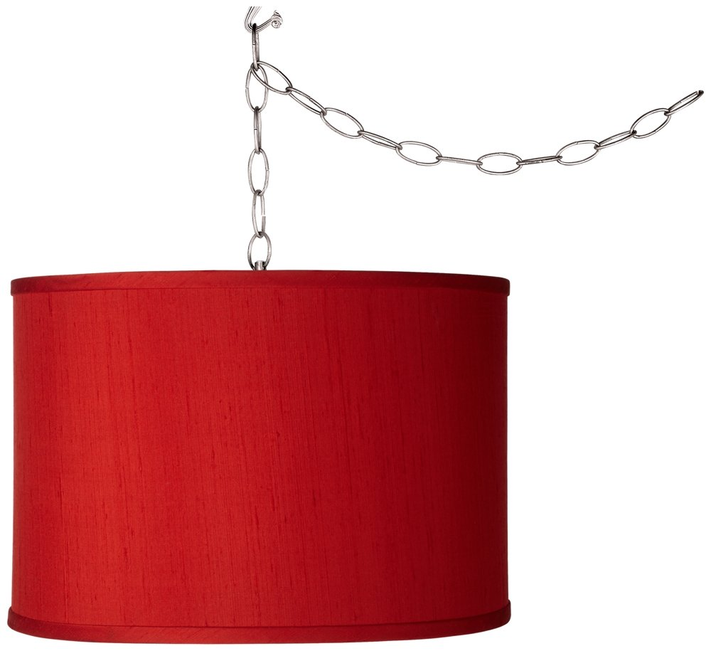 Swag Style China Red Textured Silk Shade Plug-In Chandelier