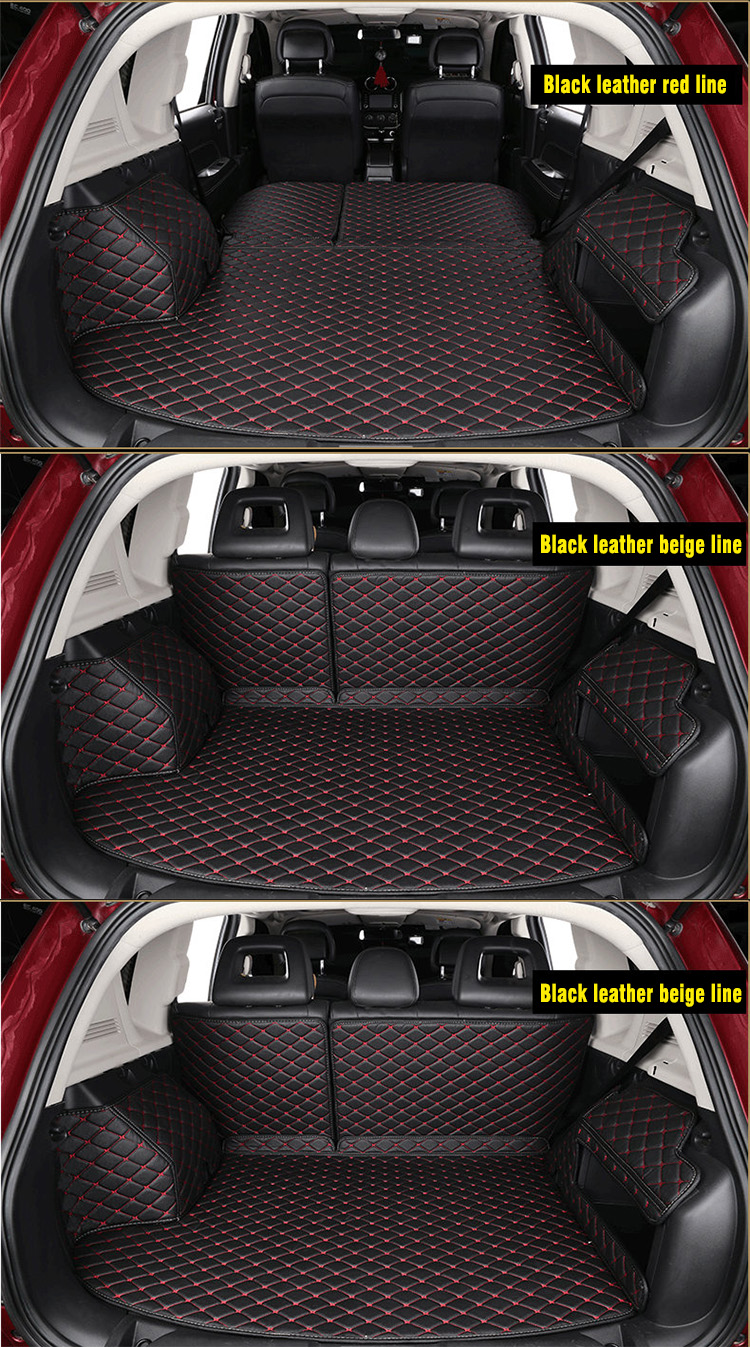 Full set unique shockproof leather car trunk mat