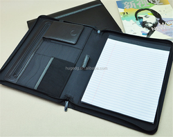 promotional leather customized file folder with letter size lined writing pad a4