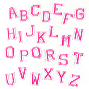 Pink Letters Patch Alphabet Embroidered Applique Letters iron on Patches PE322