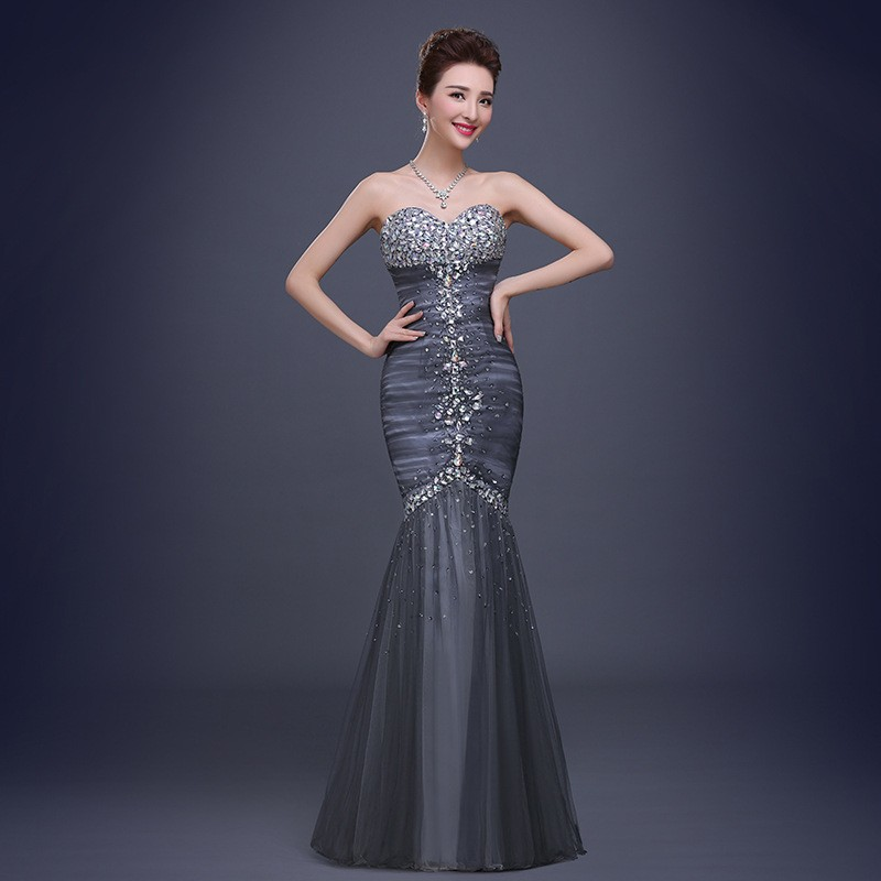 European Fashion Luxury Beaded Strapless Fish Tail Formal Evening ...