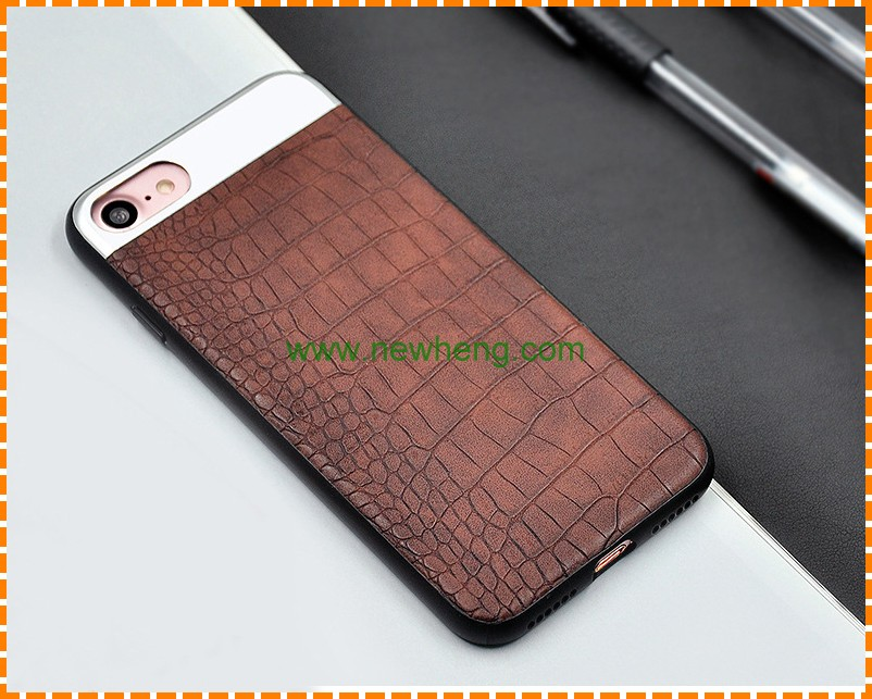Customized genuine leather with crocodile pattern phone case for iphone 7/factory direct sale phone case