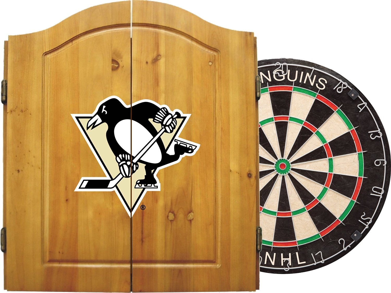 Imperial Officially Licensed NHL Dart Cabinet Set with Steel Tip Bristle Dartboard and Darts.