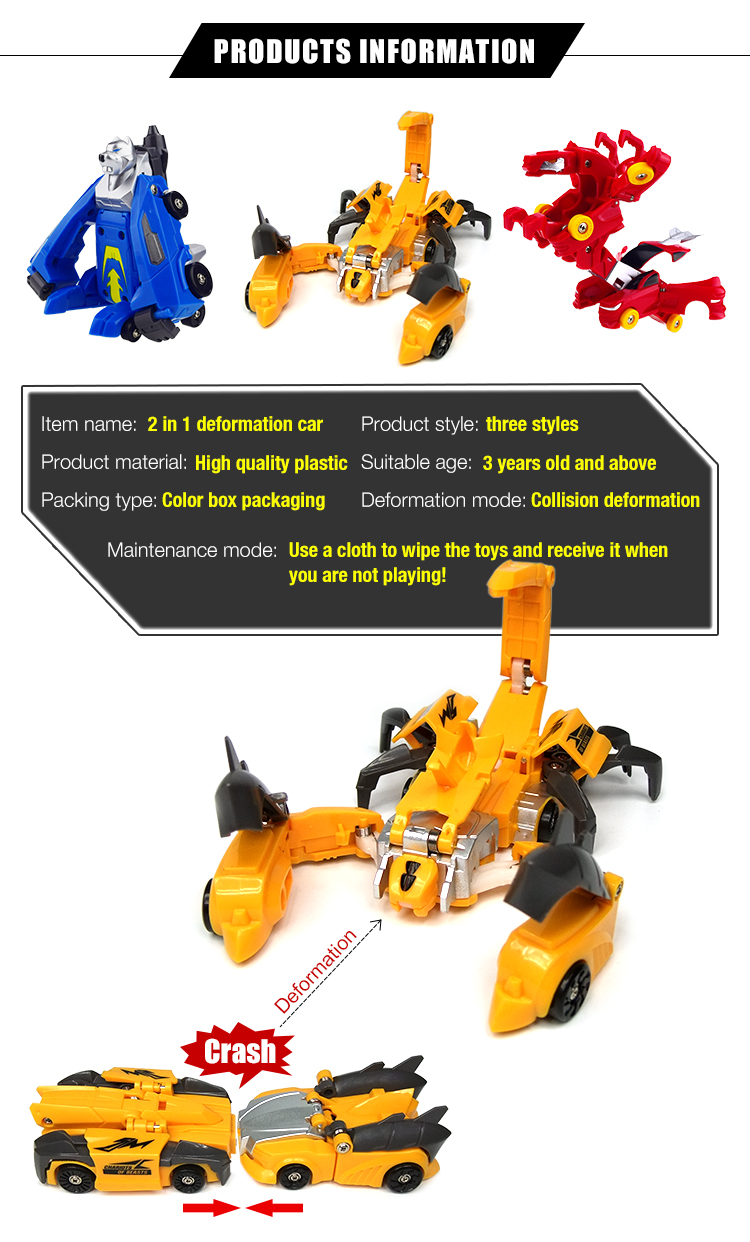 2017 Newest style blue and red deformation robot car toys for kids