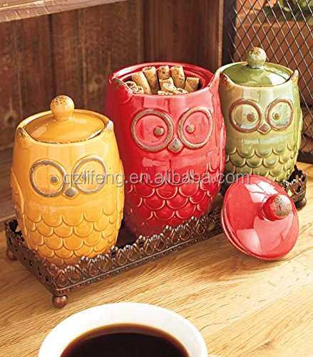 4 Piece Ceramic Owl Canister & Metal Tray Kitchen Decor