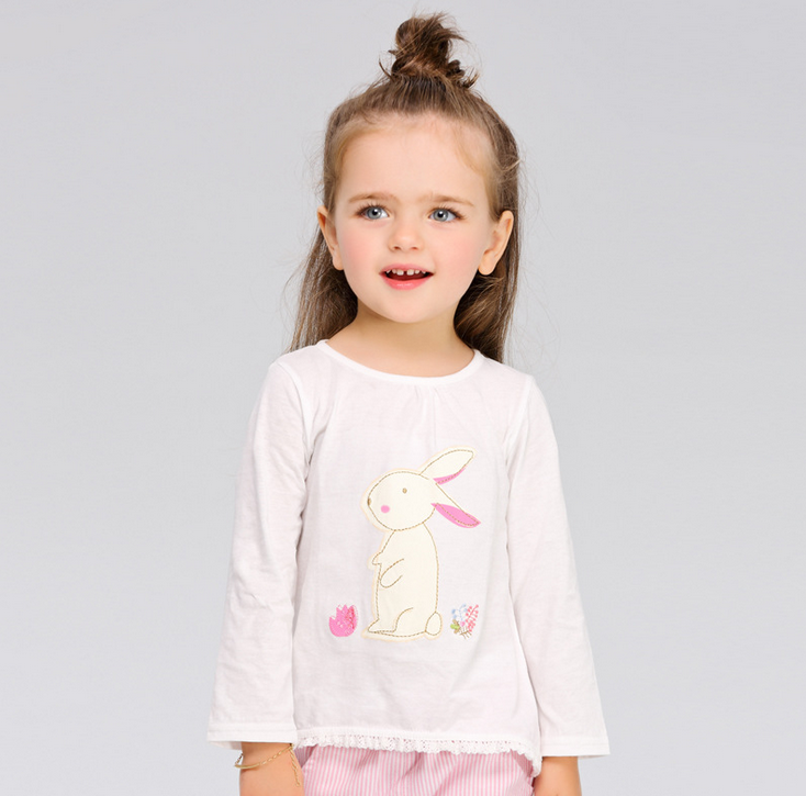 Spring Baby Girl Cotton Tops Lovely Pattern Outfit Girl Long Sleeves t shirt