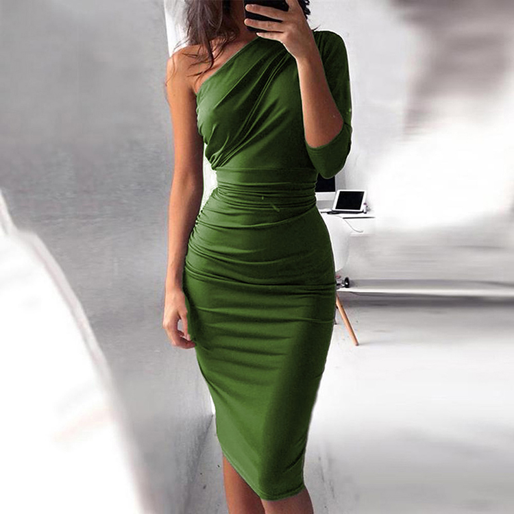 Wholesale 2019 Summer New Listing One Shoulder Women Fashion Bodycon <strong>Dress</strong> Sexy