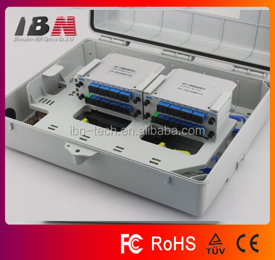 Factory supply Green IP65 Outdoor 1*32 FTTH Wall Optical Fiber Box FTB 32 port