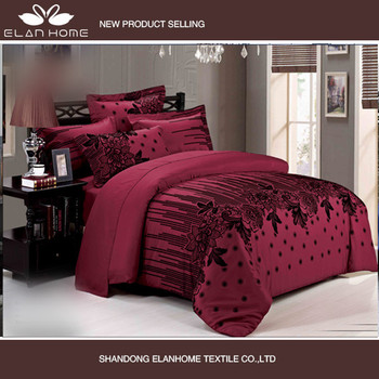Beautiful Twin Burgundy Colored Microfiber Fabric Bedroom