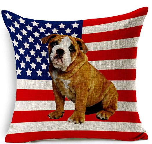 Dog throw pillows cushion cover american flag home decorations french bulldog pillow cases stripes sofa couch cojin 15pcs