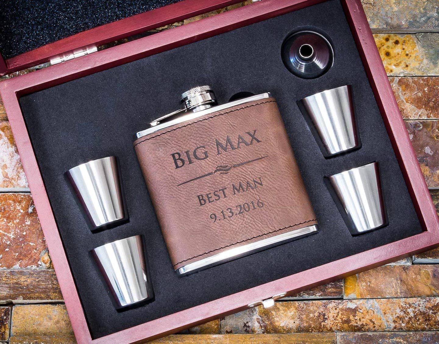 Personalized Dark Brown Leather Flask Wood Box Set- Groomsmen Gift- Custom Engraved Hip Flasks, Groomsman Whiskey Gifts For Men, Rustic Customized Vegan Wrapped #304 Steel 6 oz FSK11