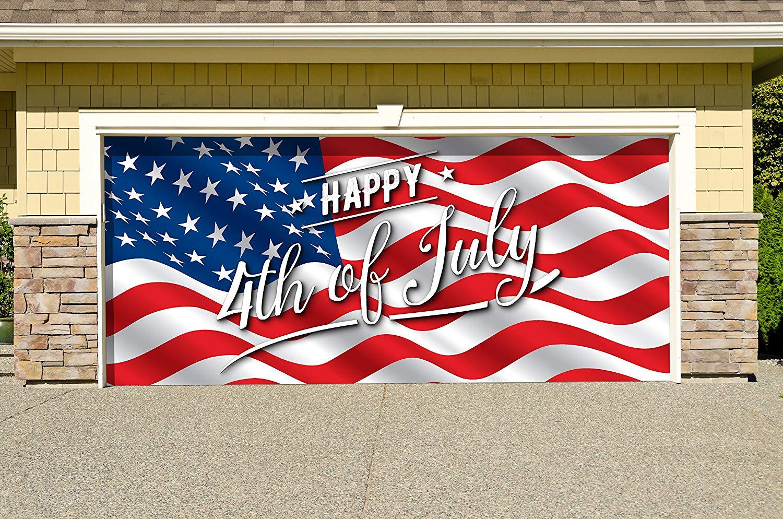 Victory Corps Outdoor Patriotic American Holiday Garage Door Banner Cover Mural Décoration - American Flag Happy 4th of July - Outdoor American Holiday Garage Door Banner Décor Sign 7'x 16'
