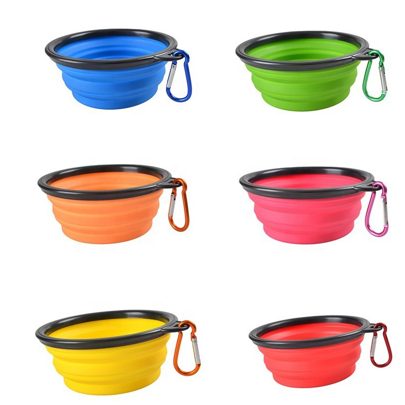 Collapsible Dog Bowls with Color Matched Carabiner Clips Perfect Foldable Travel Bowls for Journeys, Hiking, Kennels & Camping