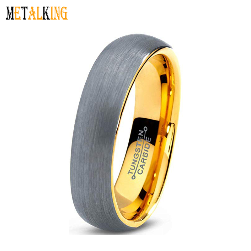 Tungsten Wedding Band Ring for Men Women Yellow Gold Plated Plated Domed Brushed 5mm