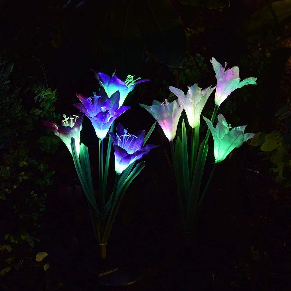 Outdoor Solar Garden Stake Lights - Solarmart Solar Powered Lights, Multi-Color Changing LED Solar Waterproof Flower Lights for Garden, Patio, Backyard Decoration - 2 Pack (Purple and White)