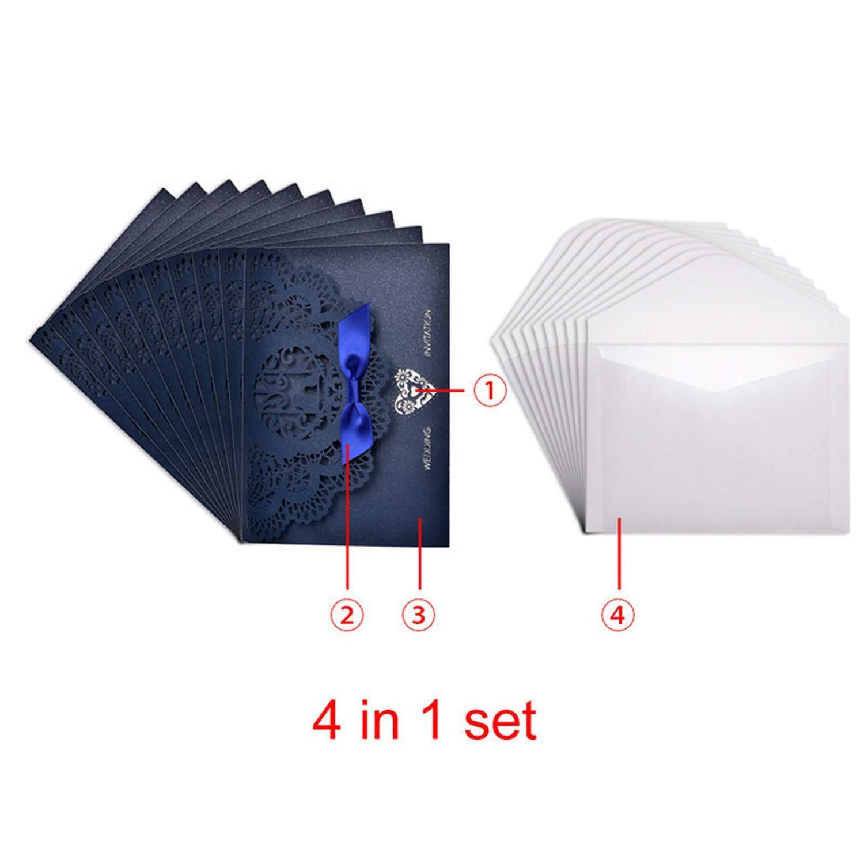 10Pcs/Lot Elegant Hollow Laser Cut Wedding Invitation Envelope & Bowknots Invitation Cards,B