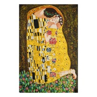 Museum Quality Gustav Klimt Kiss Pure Handmade Gold Foil Decorative Canvas Art Famous Reproduction Oil Painting for Art Gallery