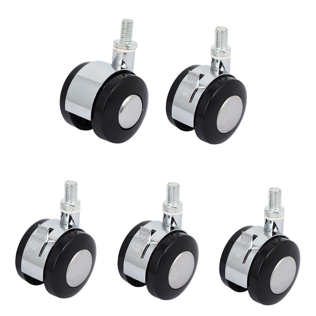 uxcell 5 Caster Set 1.5 Inches Wheels 4 Swivel 1 Brake Black for Trolley Cart