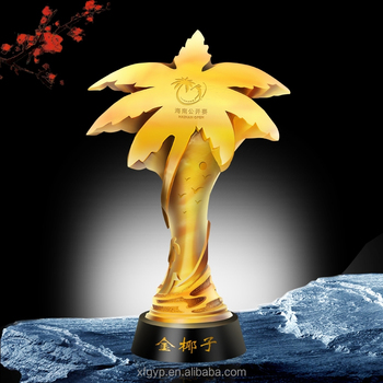 customised yellow coconut or palm trees liuli trophy buy