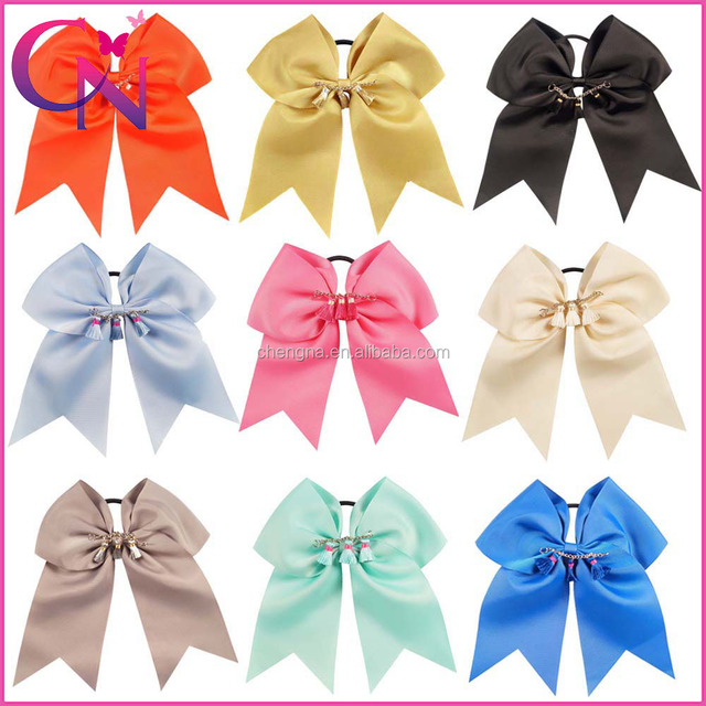 Initial Cheer bow, Holiday Cheer bow, Large Solid Color Cheer Bow HBW-16062102-6