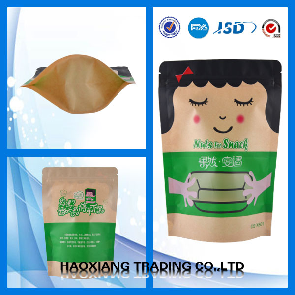 Food Grade Paper Bags /kraft Stand Up Zip Pouch/brown Polythene Bags For Nuts/dried Food Packaging