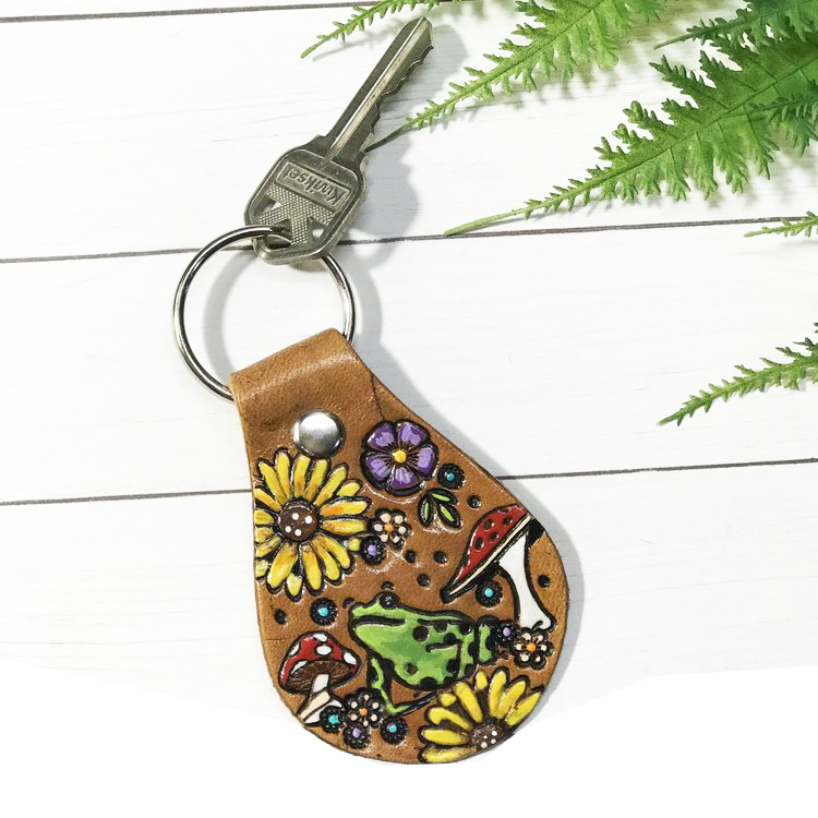 Classic Leather Keychain, Leather Keychain Wholesale, Painted Leather Key Chain