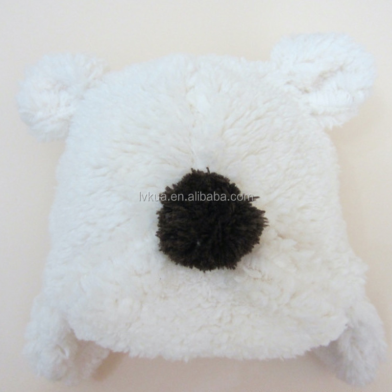 Coral fleece cartoon bear head baby hat