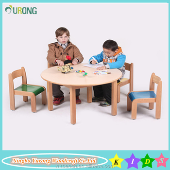 Premium Quality Child Wood Material Table Chair Montessori Set For