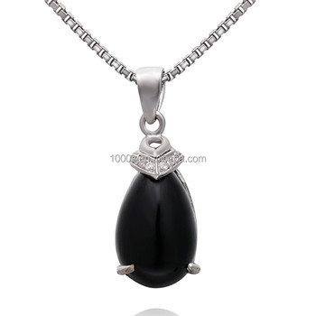S925 sterling silver natural black agate pendant teardropwater s925 sterling silver natural black agate pendant teardropwater shaped agate pendant jewelry wholesale aloadofball Images